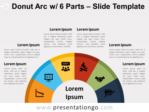 Free Donut Arc with 6 Parts for PowerPoint