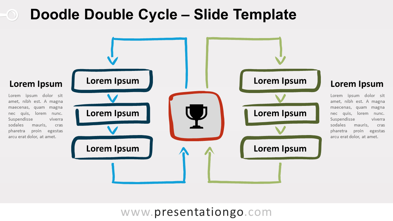 Free Doodle Double Cycle Diagram for PowerPoint and Google Slides