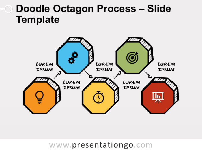 Free Doodle Octagon Process Diagram for PowerPoint