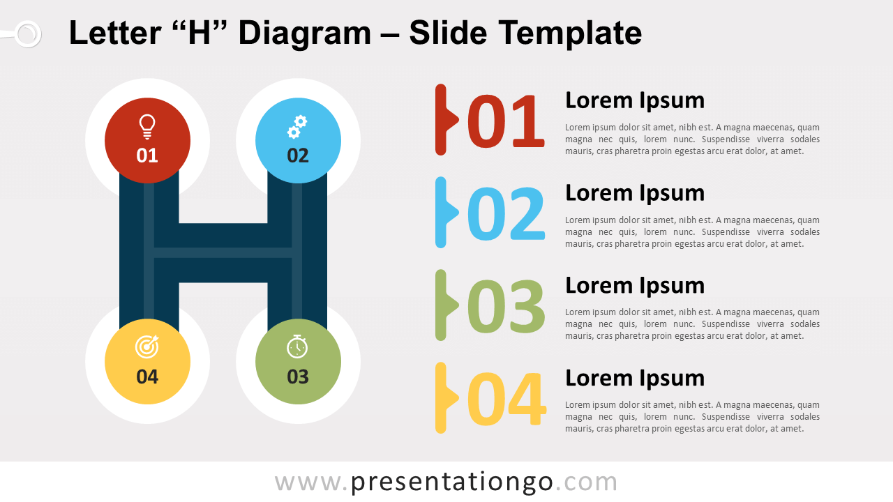 Free Letter H Diagram for PowerPoint and Google Slides