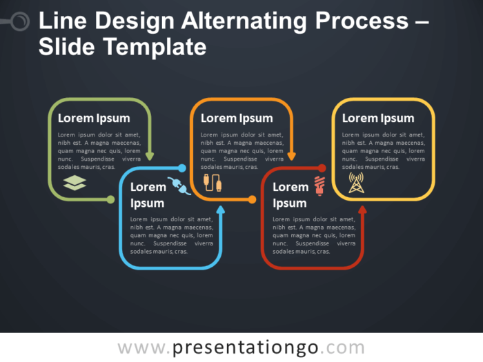 Free Line Design Alternating Process Diagram for PowerPoint