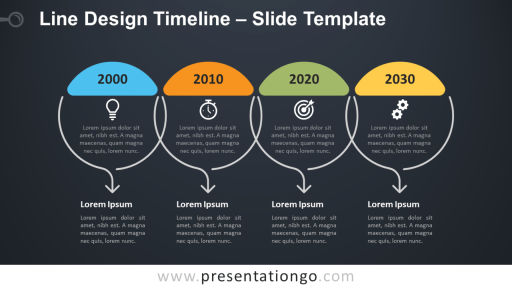 Free Line Design Timeline Infographics for PowerPoint and Google Slides