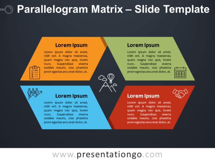 Free Parallelogram Matrix Diagram for PowerPoint