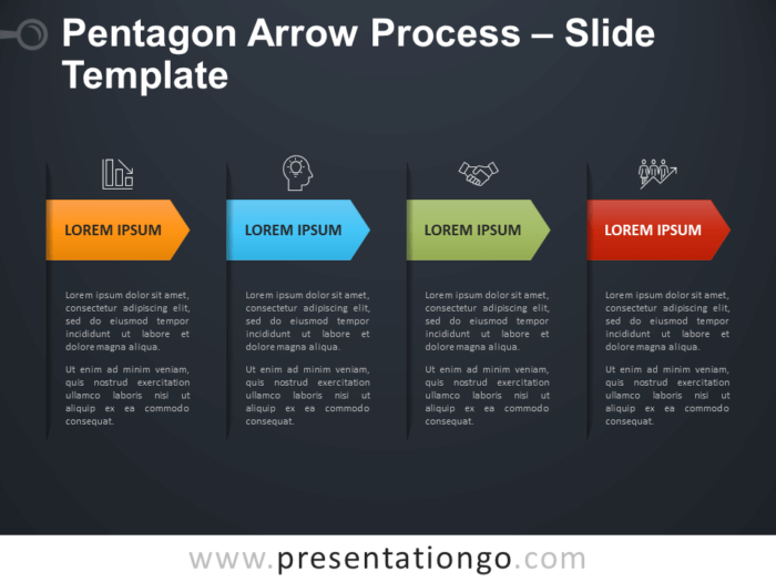 Free Pentagon Arrow Process Infographic for PowerPoint