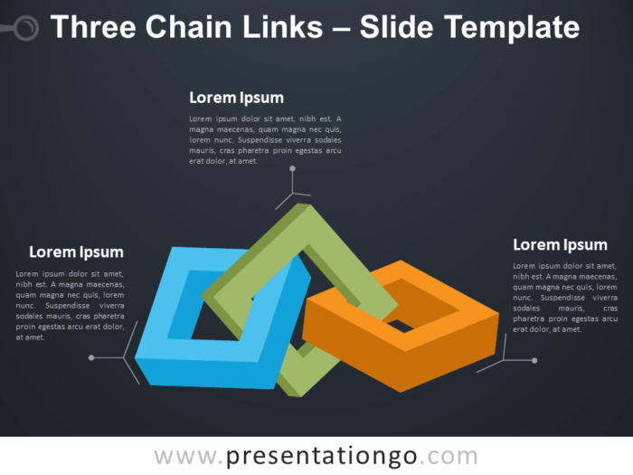 Free Three Chain Links Infographic for PowerPoint