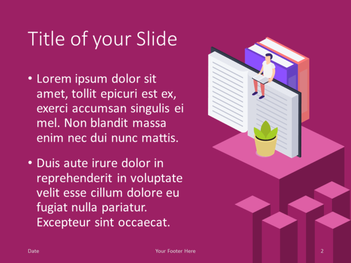 Free Isometric eLearning Template for PowerPoint – Title and Content Slide (Variant 1)