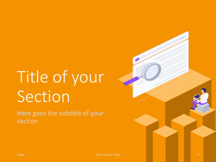 Free Isometric eLearning Template for PowerPoint – Section Slide (Variant 2)