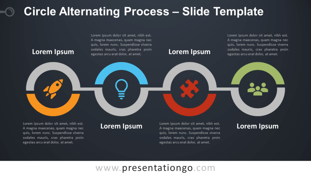 Free Circle Alternating Process Diagram for PowerPoint and Google Slides