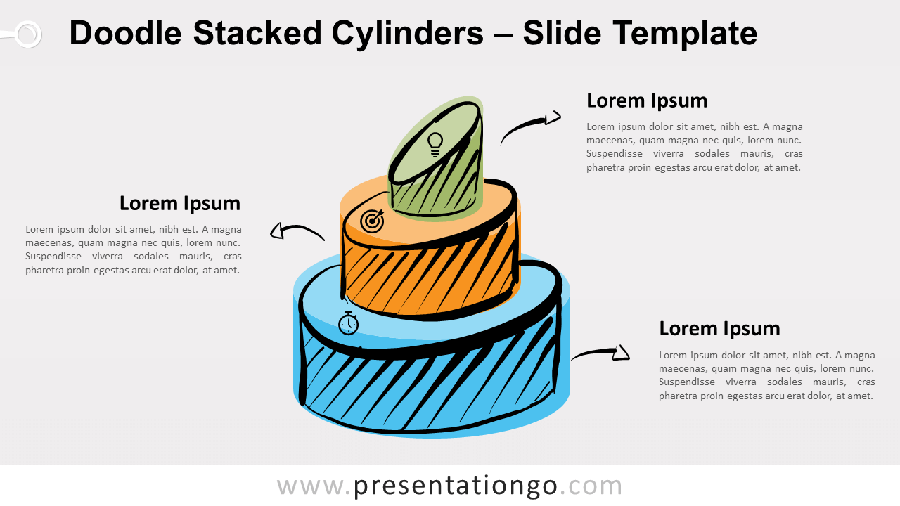 Free Doodle Stacked Cylinders Infographic for PowerPoint and Google Slides