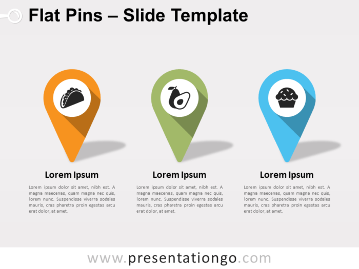 Free Flat Pins for PowerPoint