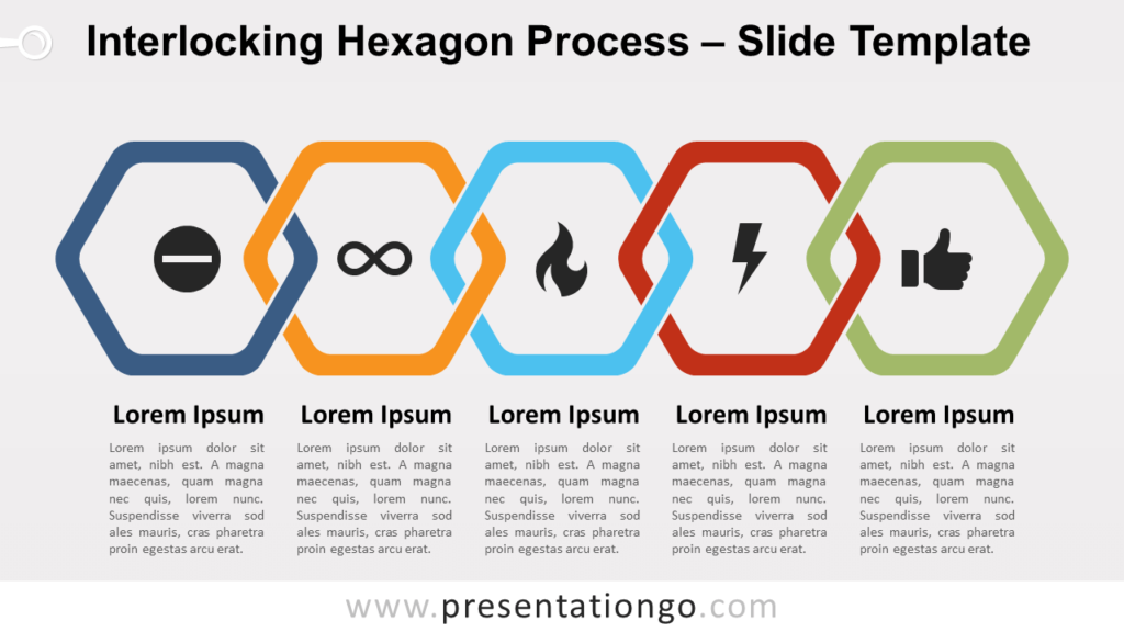 Free Interlocking Hexagon Process for PowerPoint and Google Slides