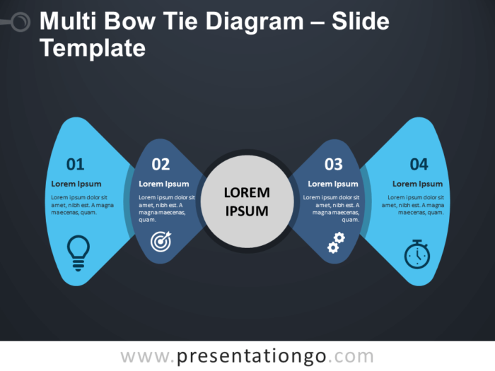 Free Multi Bow Tie Diagram Infographic for PowerPoint