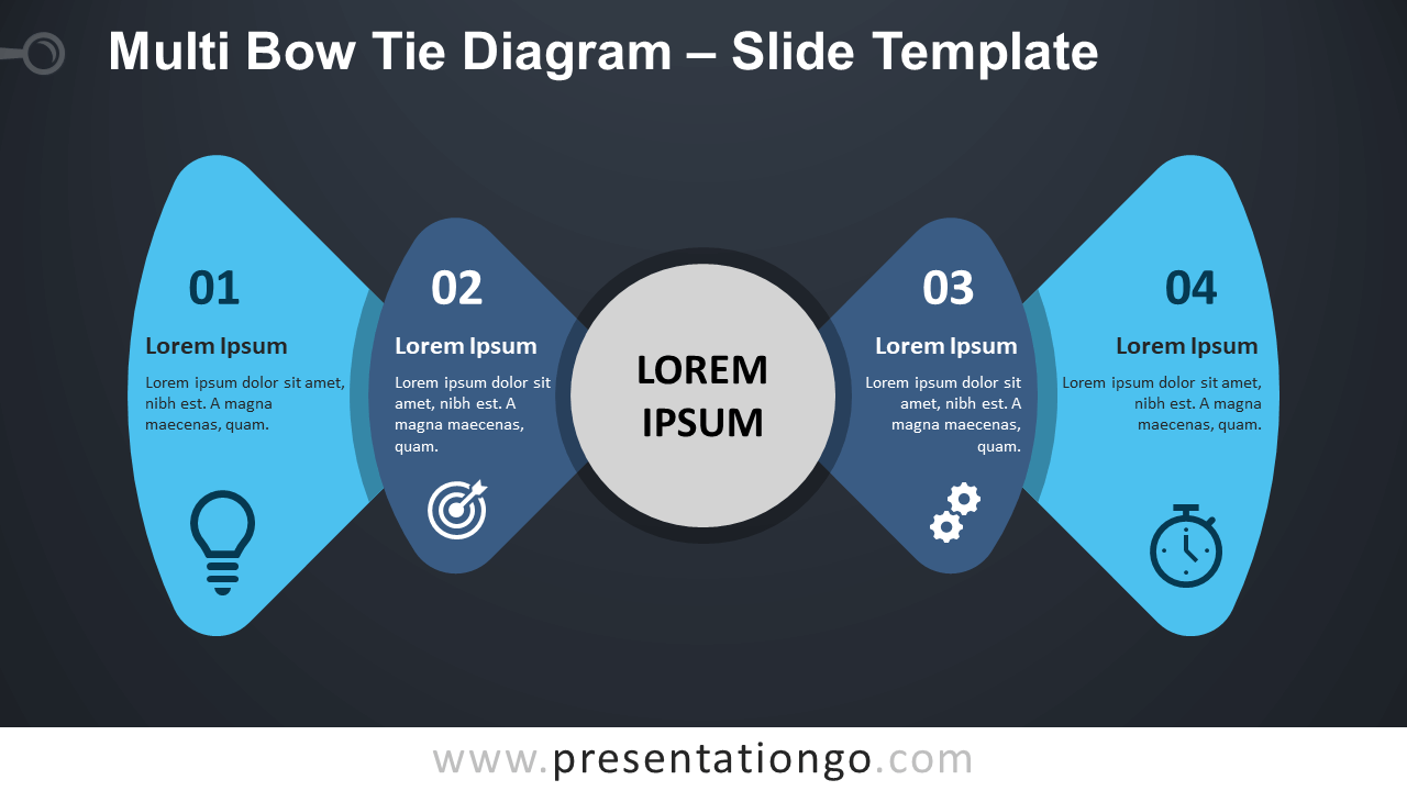 Free Multi Bow Tie Diagram Infographic for PowerPoint and Google Slides