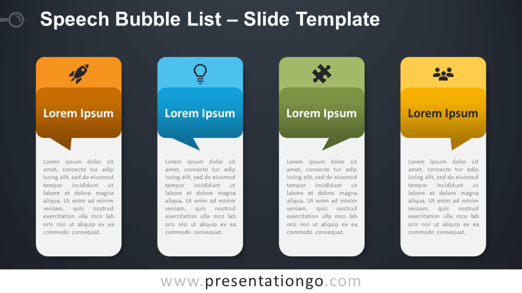 Free Speech Bubble List Table for PowerPoint and Google Slides
