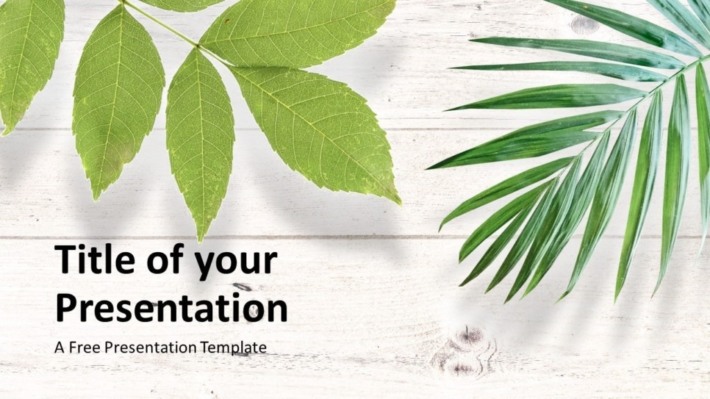 Free Green Leaves Flat Lay Template for Google Slides - Cover Slide