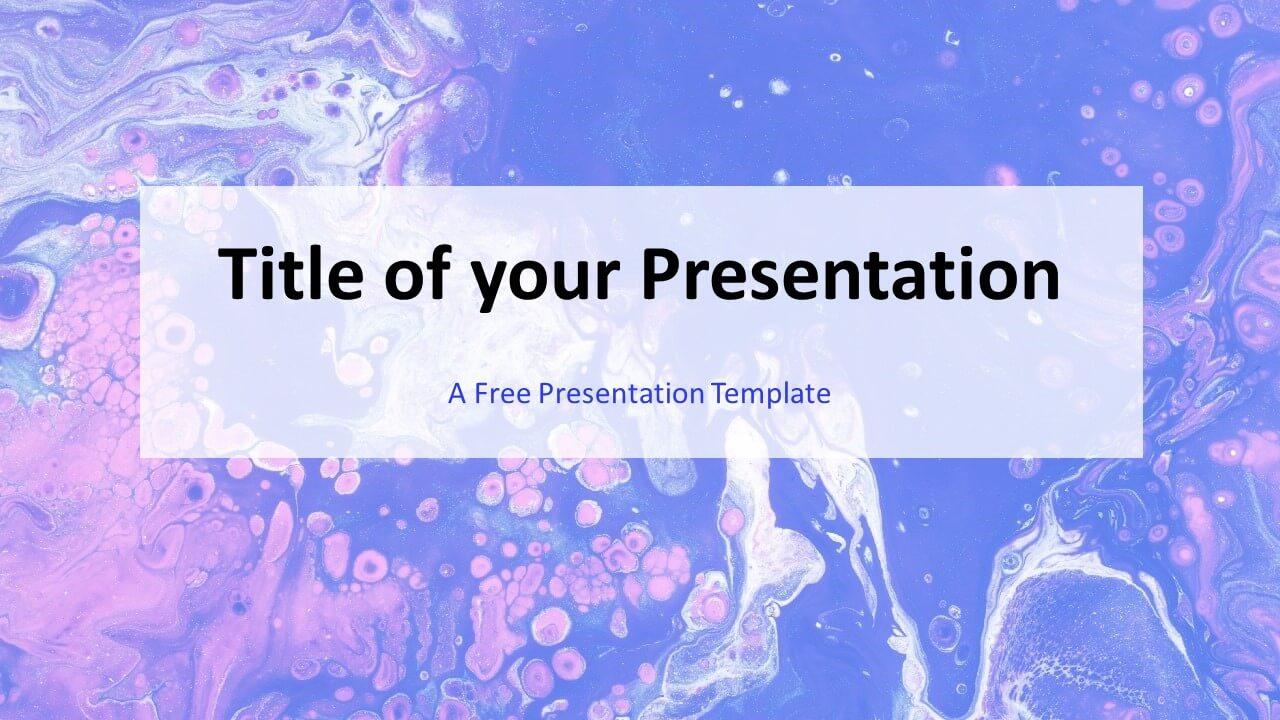Free Liquid Marbling Paint Template for Google Slides - Cover Slide