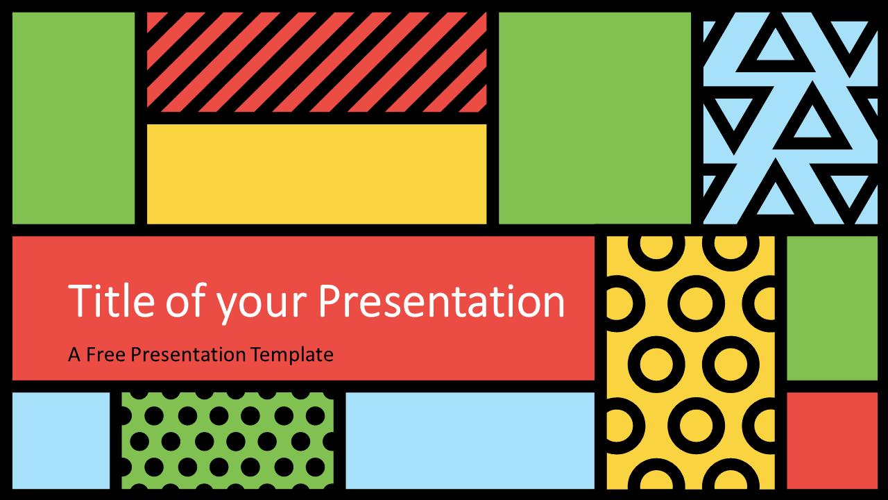 Free Mondrian Pop Art Template for Google Slides - Cover Slide