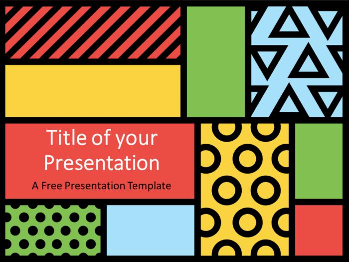 Free Mondrian Pop Art Template for PowerPoint - Cover Slide