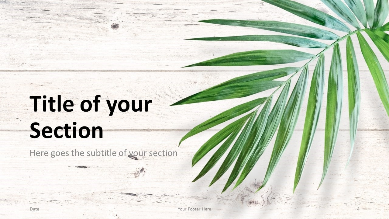 Free Green Leaves Flat Lay Template for Google Slides – Section Slide (Variant 1)
