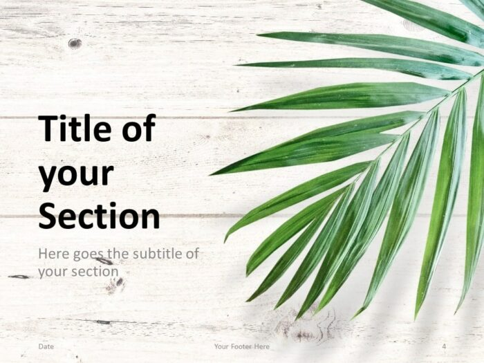 Free Green Leaves Flat Lay Template for PowerPoint – Section Slide (Variant 1)