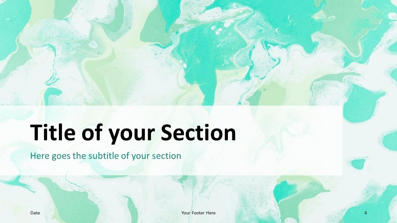 Free Liquid Marbling Paint Template for Google Slides – Section Slide (Variant 1)