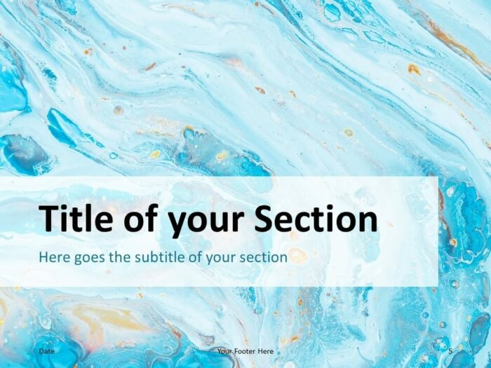 Free Liquid Marbling Paint Template for PowerPoint – Section Slide (Variant 2)
