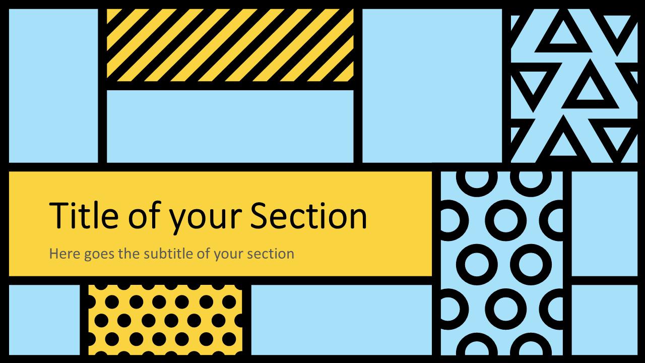 Free Mondrian Pop Art Template for Google Slides – Section Slide (Variant 2)