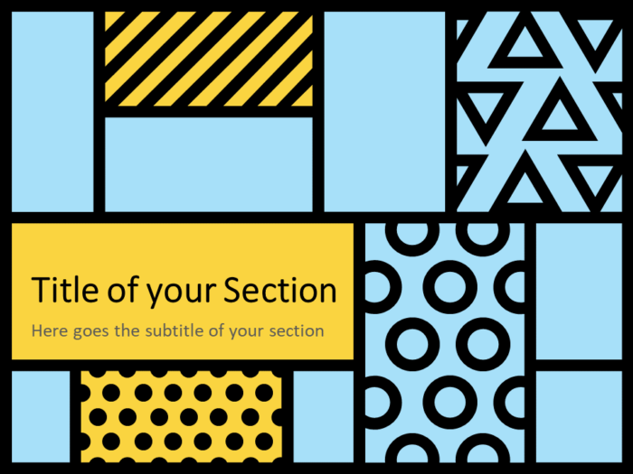Free Mondrian Pop Art Template for PowerPoint – Section Slide (Variant 2)