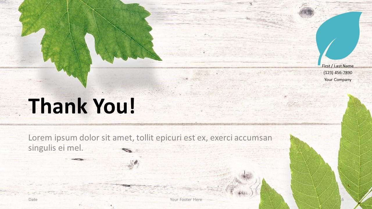 Free Green Leaves Flat Lay Template for Google Slides - Closing / Thank you