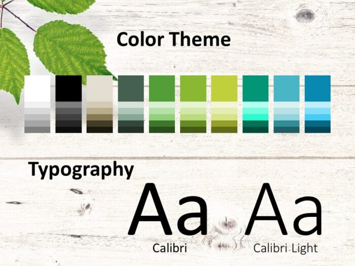 Free Green Leaves Flat Lay Template for PowerPoint – Colors and Fonts