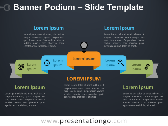Free Banner Podium Diagram for PowerPoint