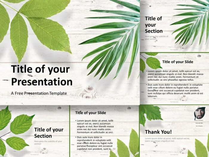 Free Green Leaves Flat Lay Template for PowerPoint and Google Slides