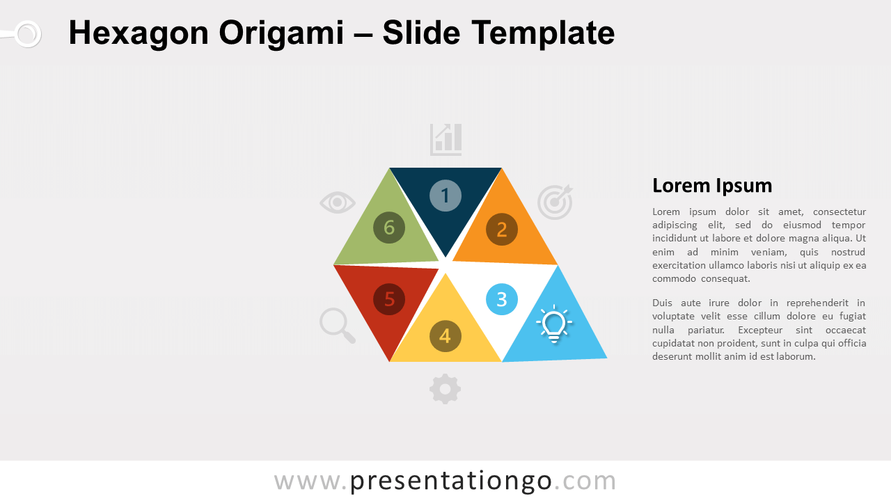 Free Hexagon Origami Diagram Infographic for PowerPoint and Google Slides