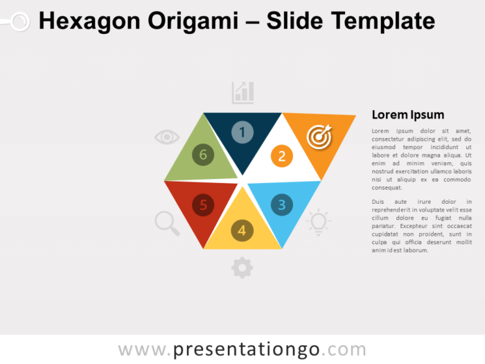 Free Hexagon Origami Infographic for PowerPoint