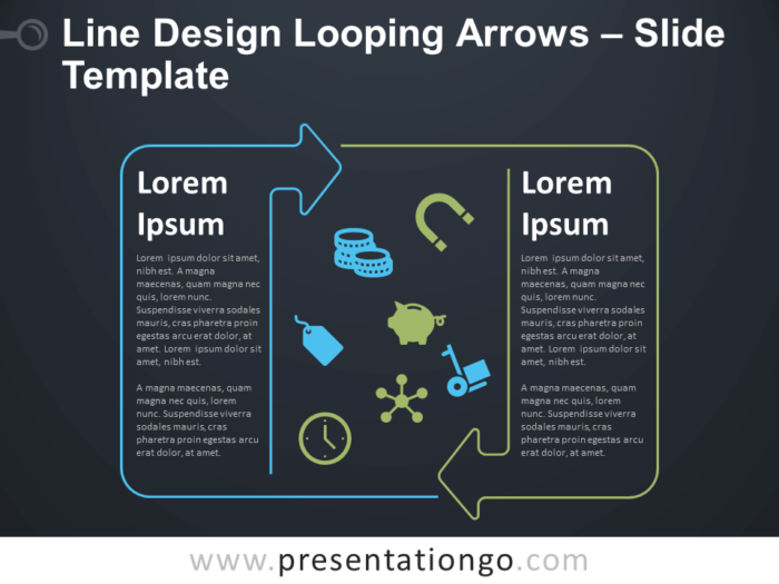 Free Line Design Looping Arrows Text for PowerPoint