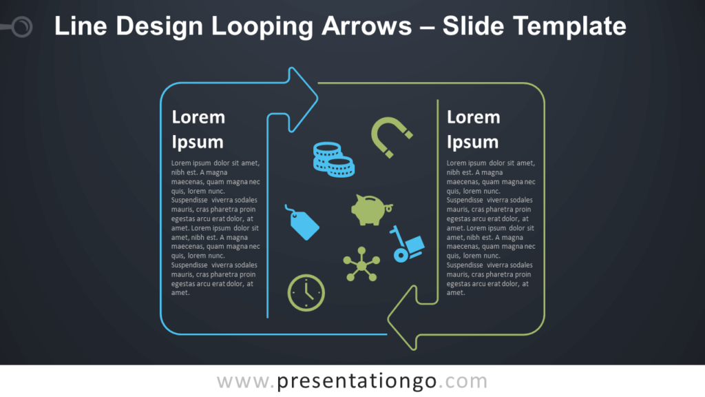 Free Line Design Looping Arrows Text for PowerPoint and Google Slides