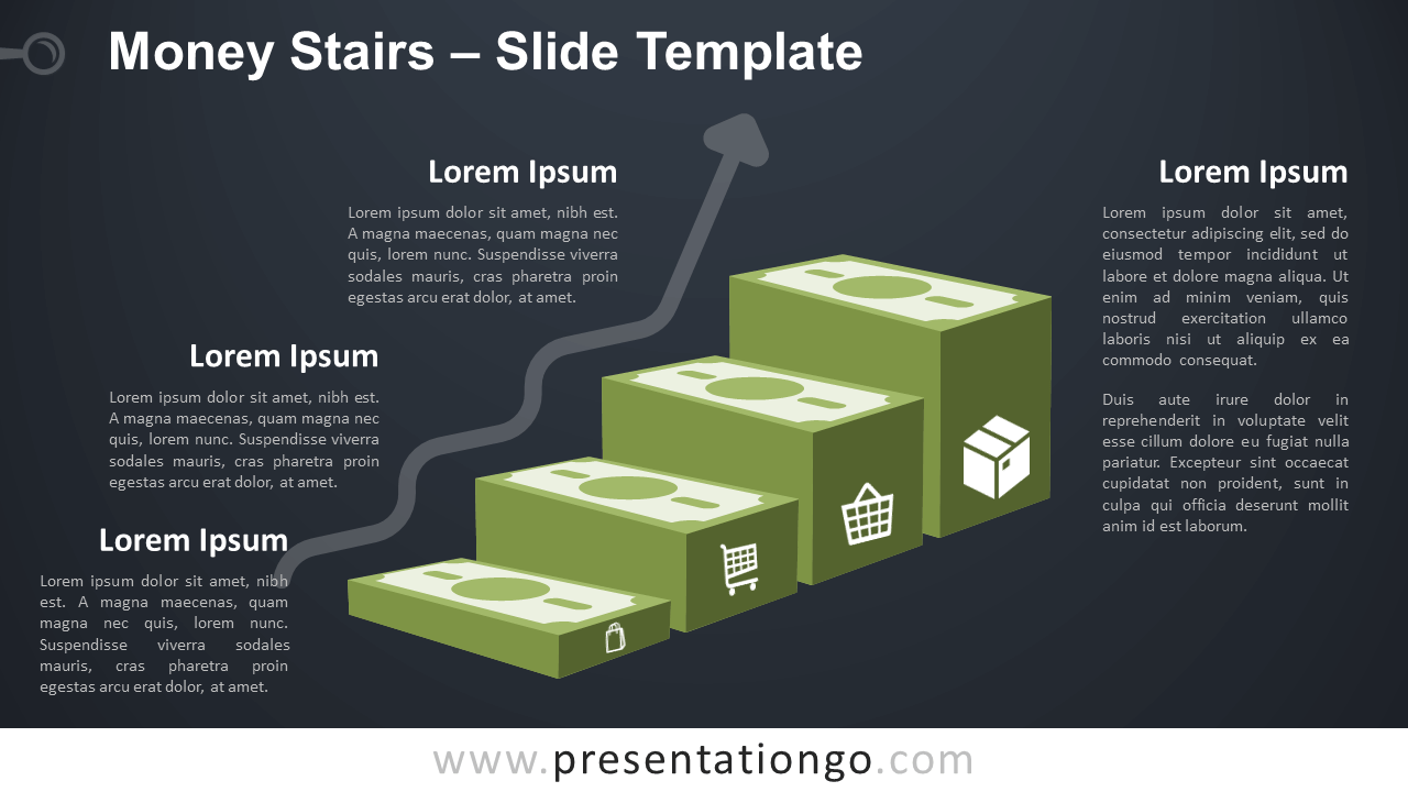 Free Money Stairs Infographic for PowerPoint and Google Slides