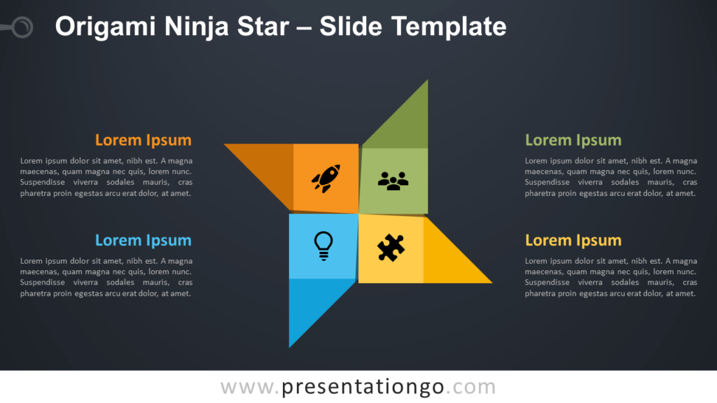 Free Origami Ninja Star Diagram for PowerPoint and Google Slides