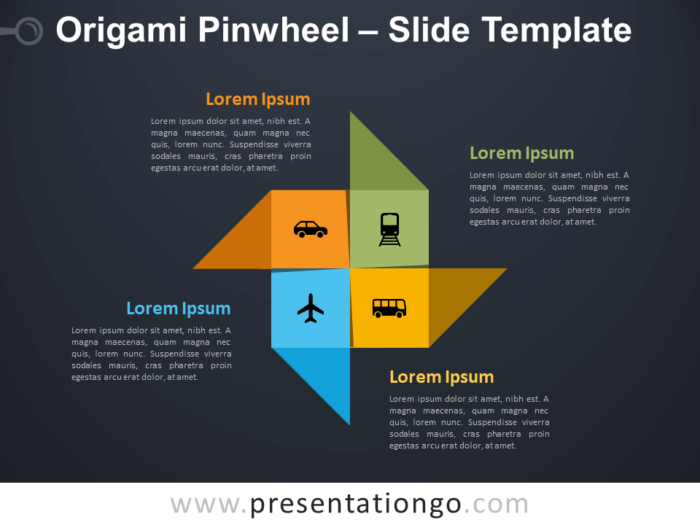 Free Origami Pinwheel Diagram for PowerPoint