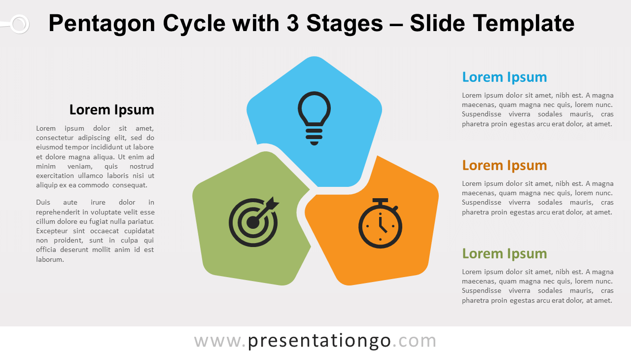 Free Pentagon Cycle with 3 Stages for PowerPoint and Google Slides