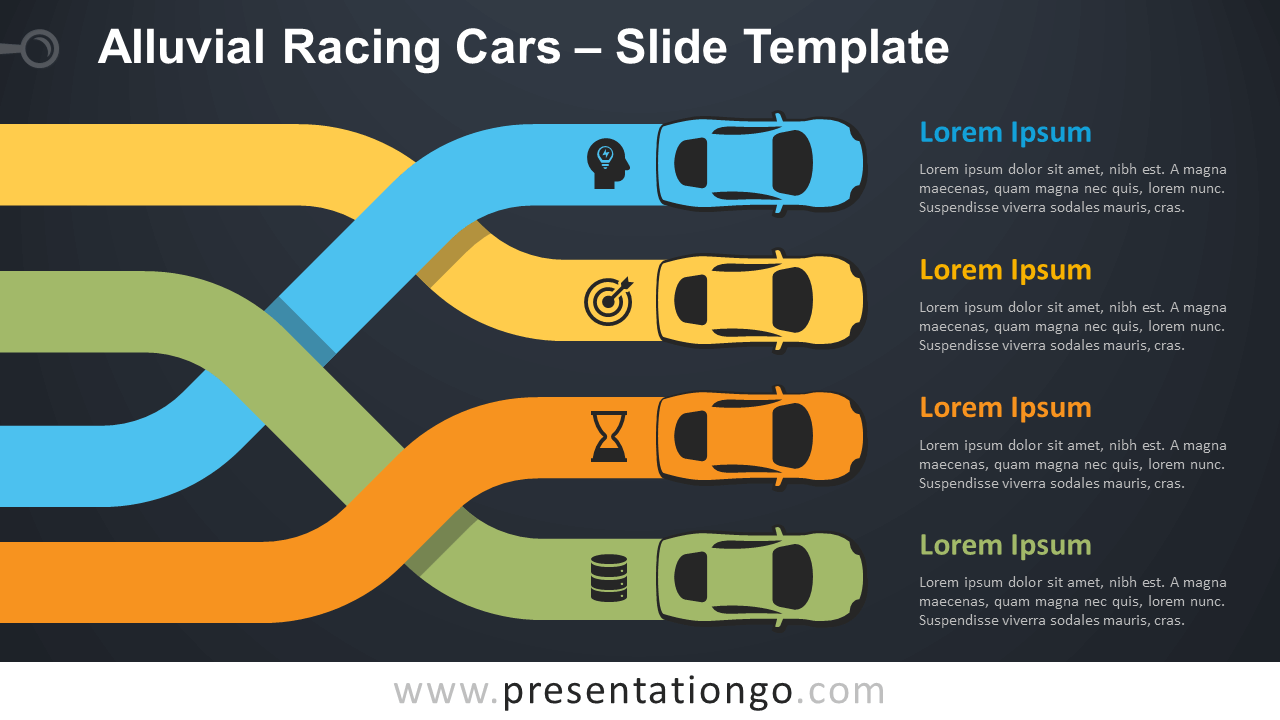 Free Alluvial Racing Cars Infographic for PowerPoint and Google Slides