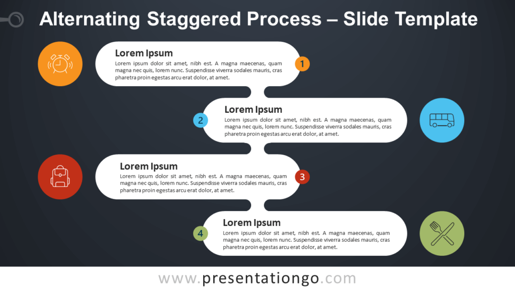 Free Alternating Staggered Process Diagram for PowerPoint and Google Slides