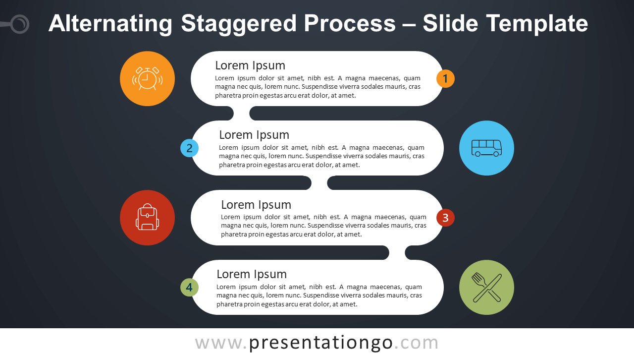 Free Alternating Staggered Process Infographic for PowerPoint and Google Slides