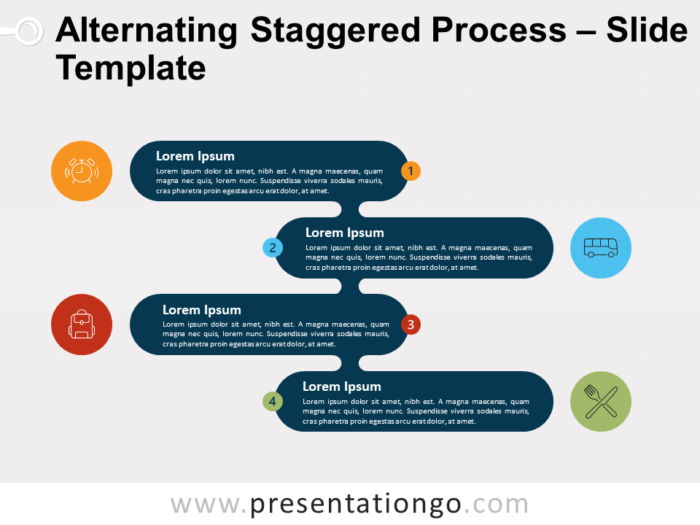 Free Alternating Staggered Process Template for PowerPoint