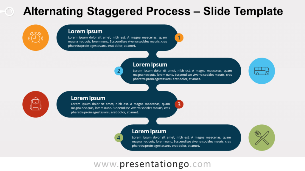Free Alternating Staggered Process Template for PowerPoint and Google Slides