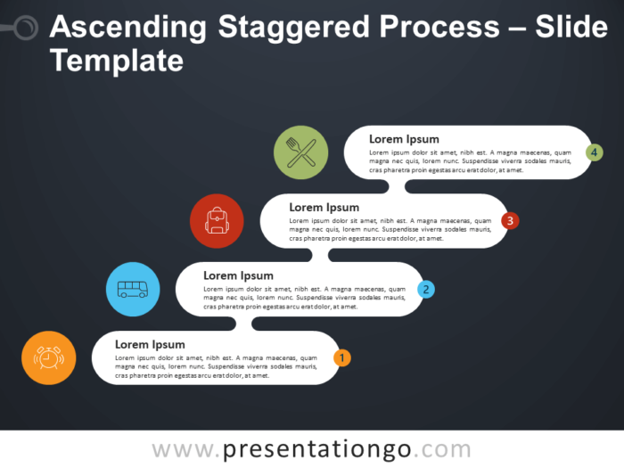 Free Ascending Descending Staggered Process Infographic for PowerPoint