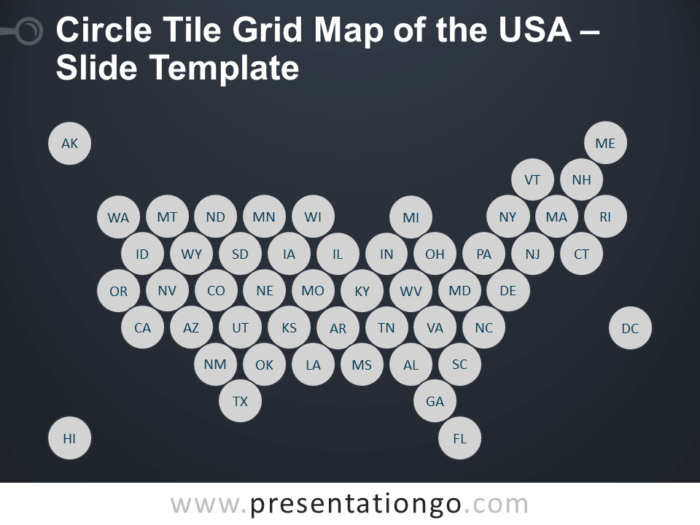 Free Circle Tile Grid Map of the USA Slide Template for PowerPoint