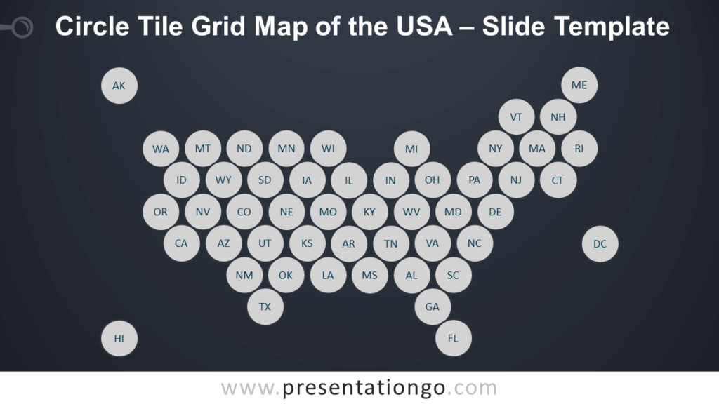 Free Circle Tile Grid Map of the USA Slide Template for PowerPoint and Google Slides