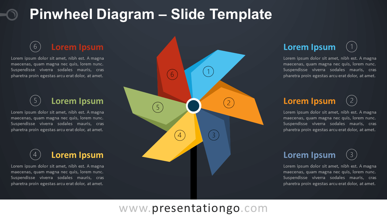 Free Pinwheel Diagram Infographic for PowerPoint and Google Slides