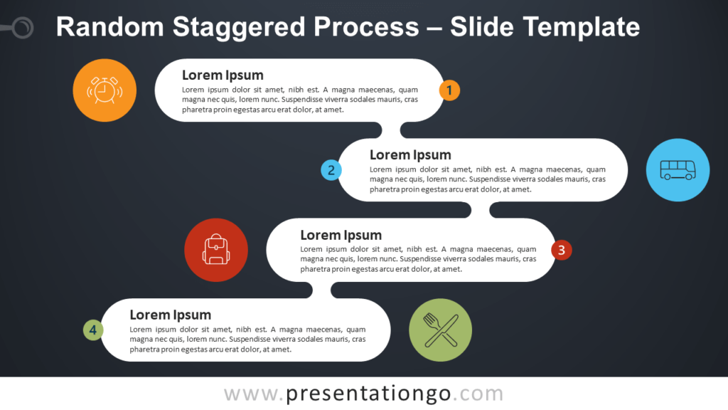 Free Random Staggered Process Infographic for PowerPoint and Google Slides